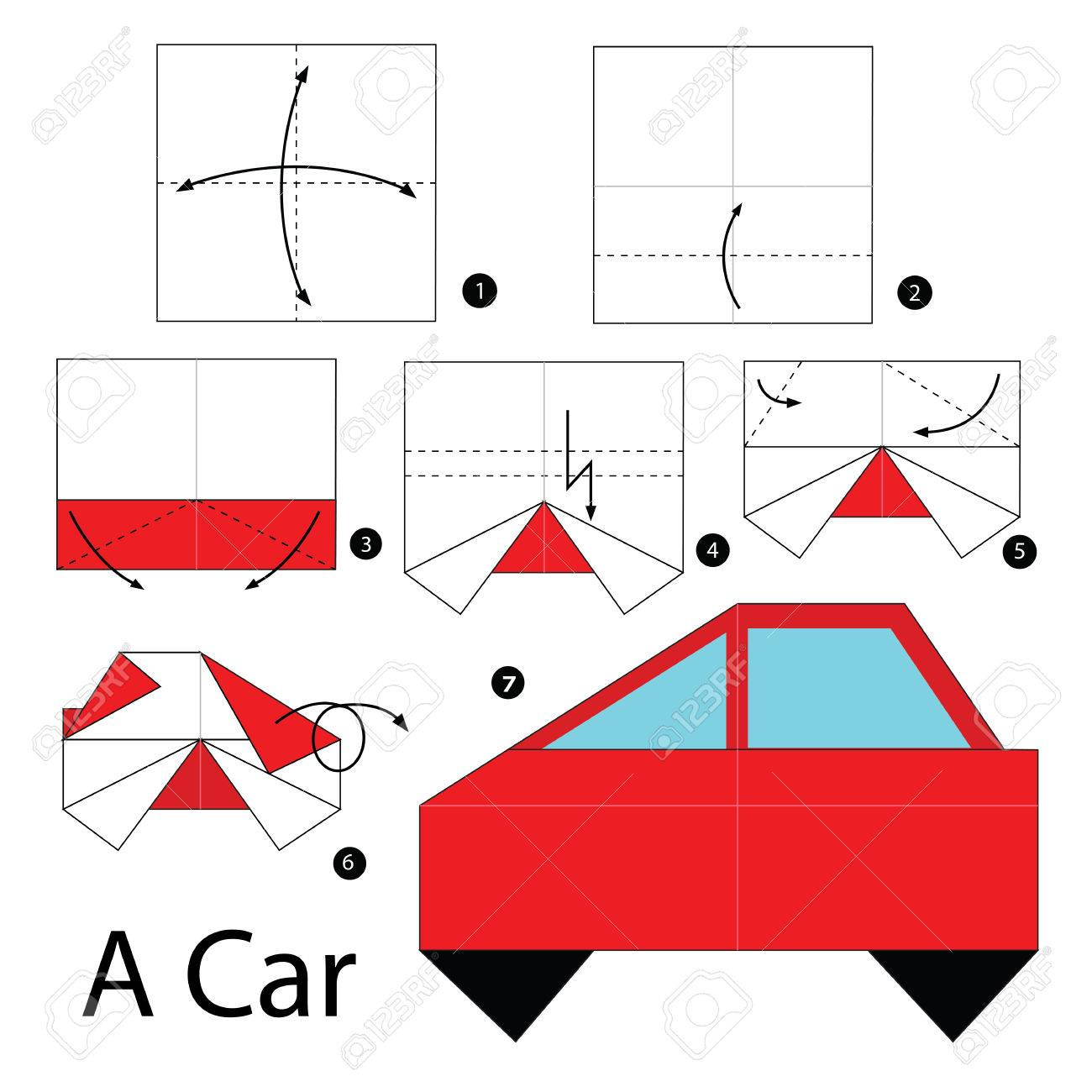 Step by step instructions how to make origami a car royalty free step by step instructions how to make origami a car stock vector 52881879 jeuxipadfo Choice Image