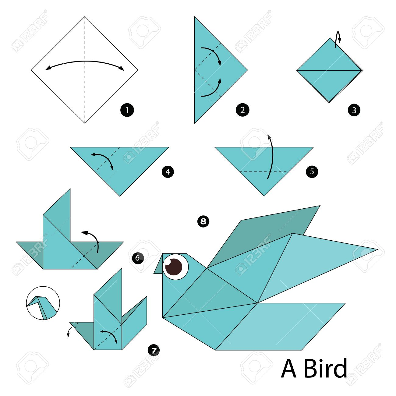 Flapping Bird: Animated Origami Instructions: How to make Origami | 1300x1300