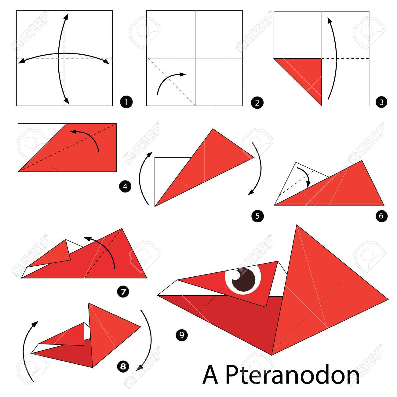 Step By Instructions How To Make Origami A Dinosaur Stock Vector
