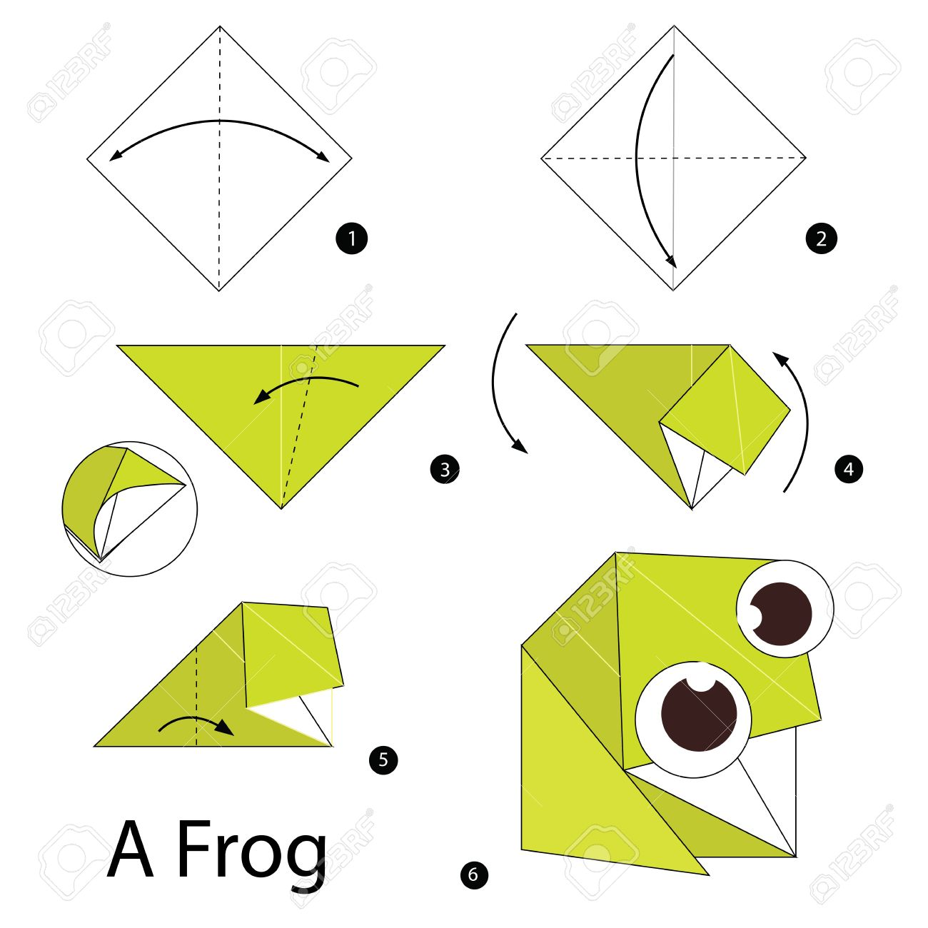 Origami Diagram Origami Frog Origami Instructions ... | 1300x1300