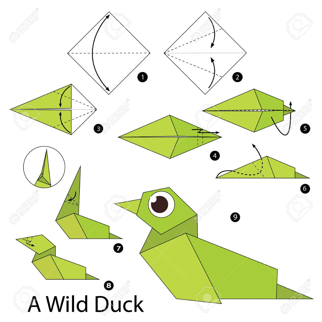 step by step instructions how to make origami a wild duck royalty