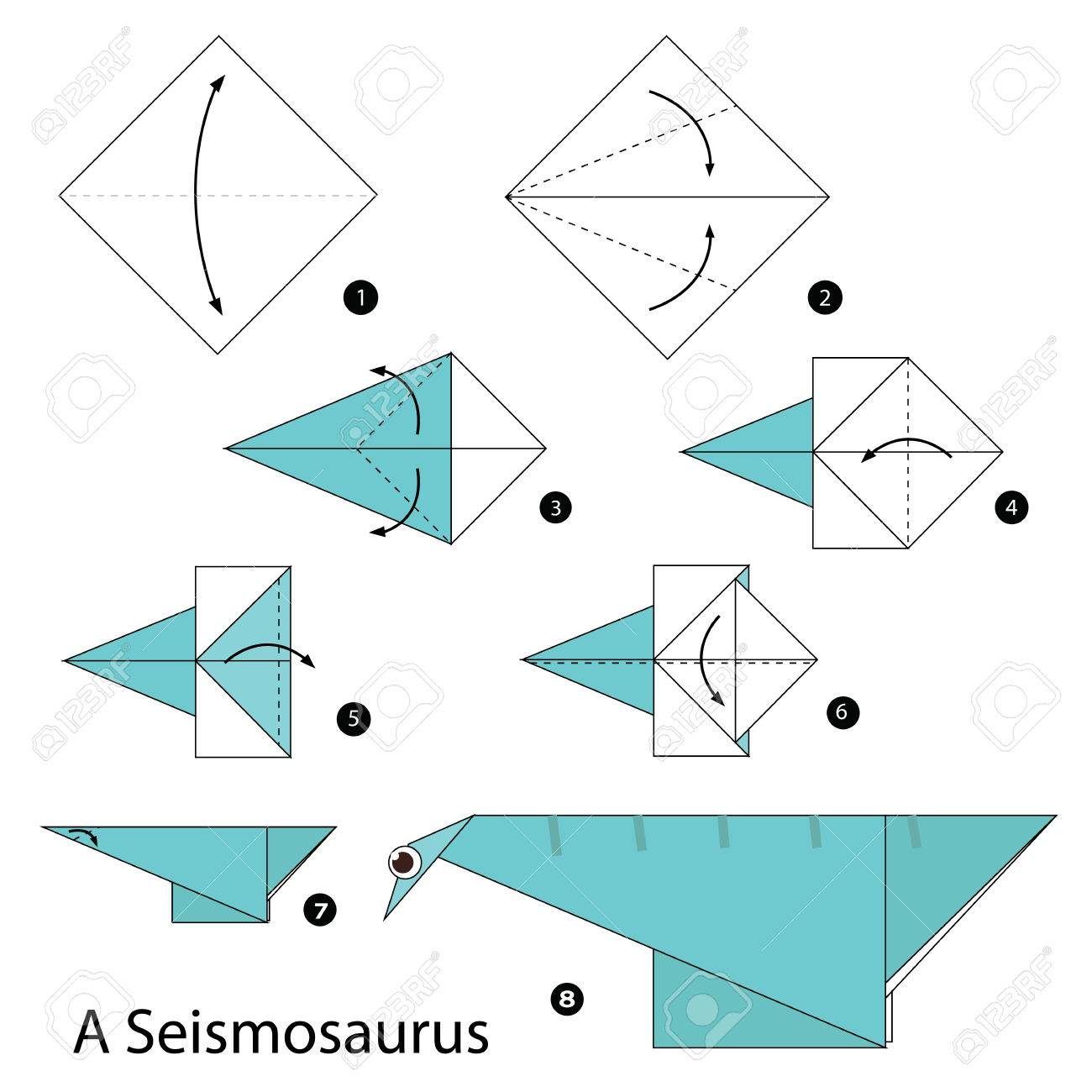 Step by step instructions how to make origami a dinosaur royalty step by step instructions how to make origami a dinosaur stock vector 59953492 jeuxipadfo Choice Image
