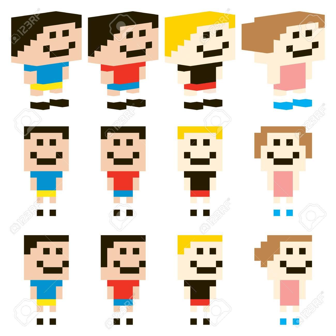 Caractère Vectorielle Pixel Art Enfants