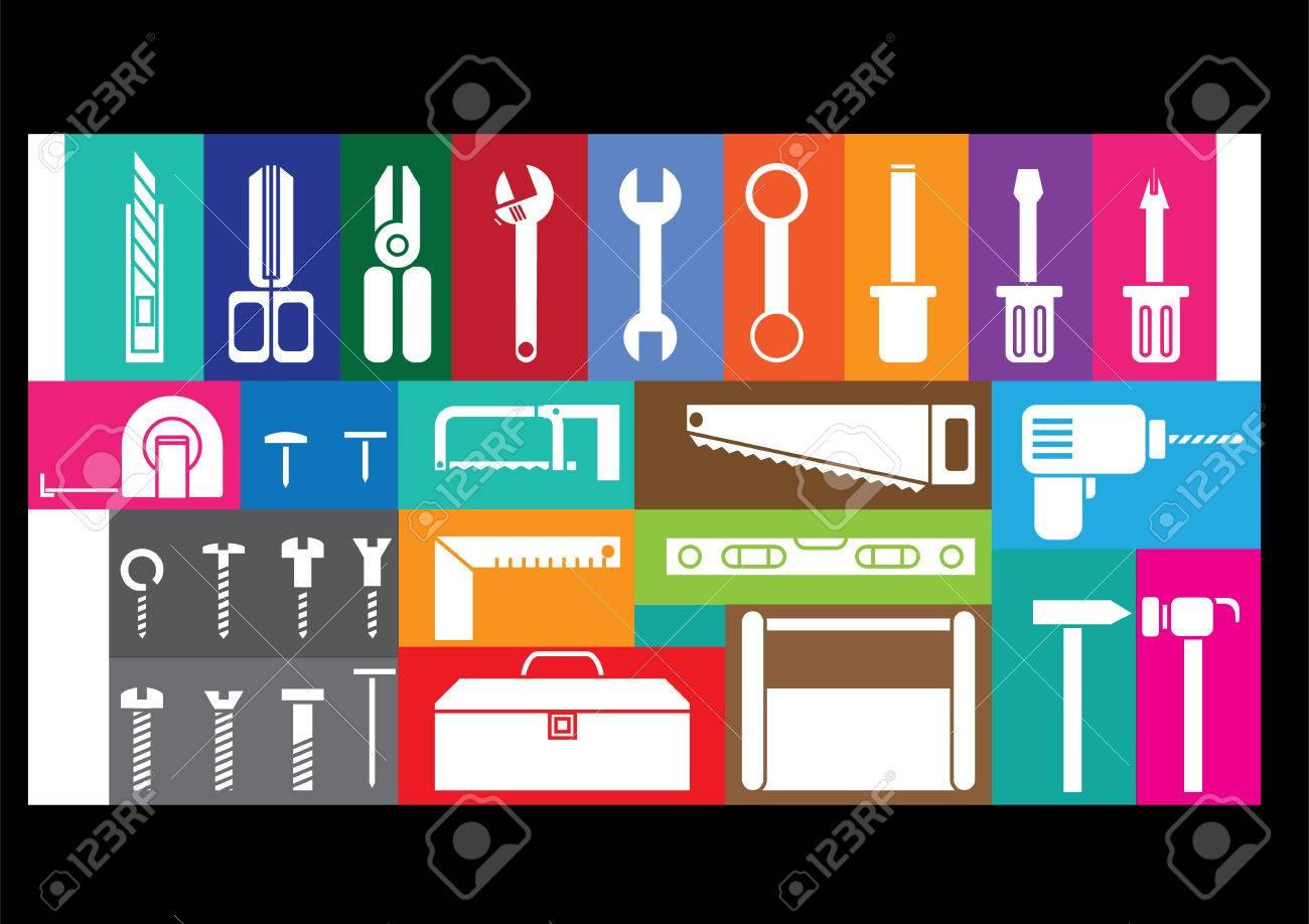 Weiß-Tool-Kits Auf Bunten Rahmen Hintergrund Lizenzfrei Nutzbare ...