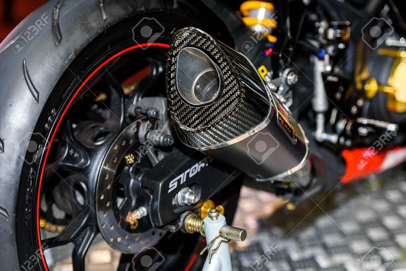BANGKOK - JUNE 24 : Exhaust Pipe of Monster Energy Yamaha motorcycle