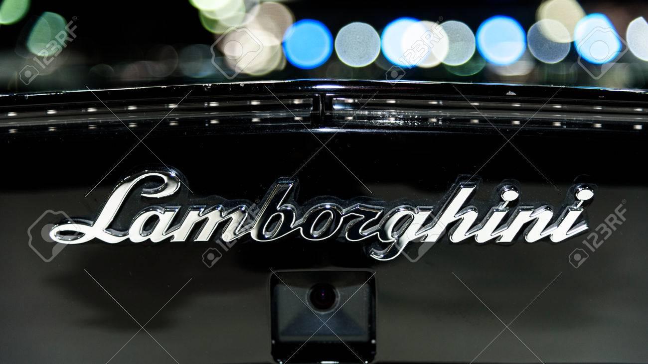 Bangkok 1 De Diciembre El Logotipo De Lamborghini Aventador En La