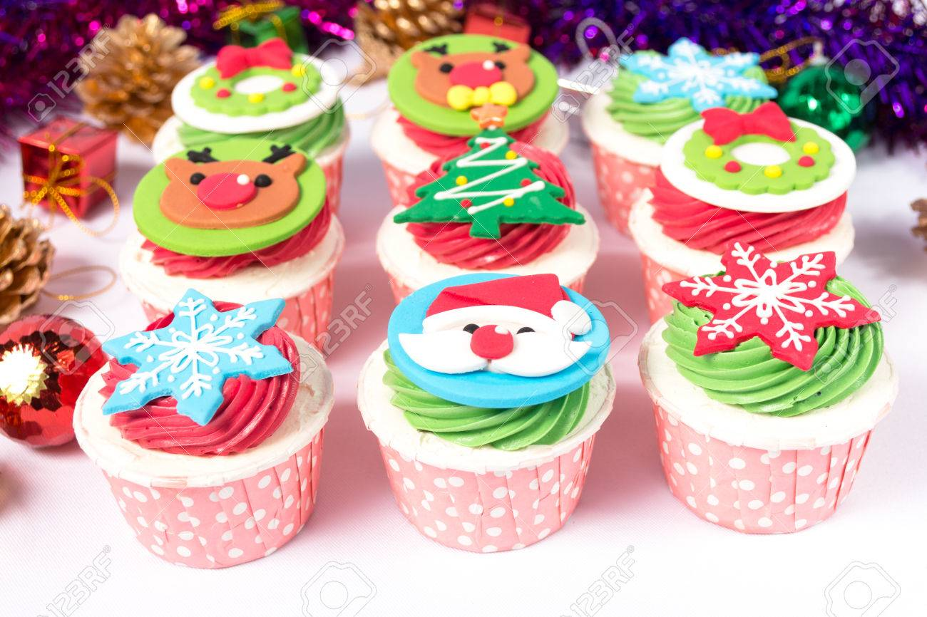 Christmas Decorated Cupcakes Stock Photo Picture And Royalty Free