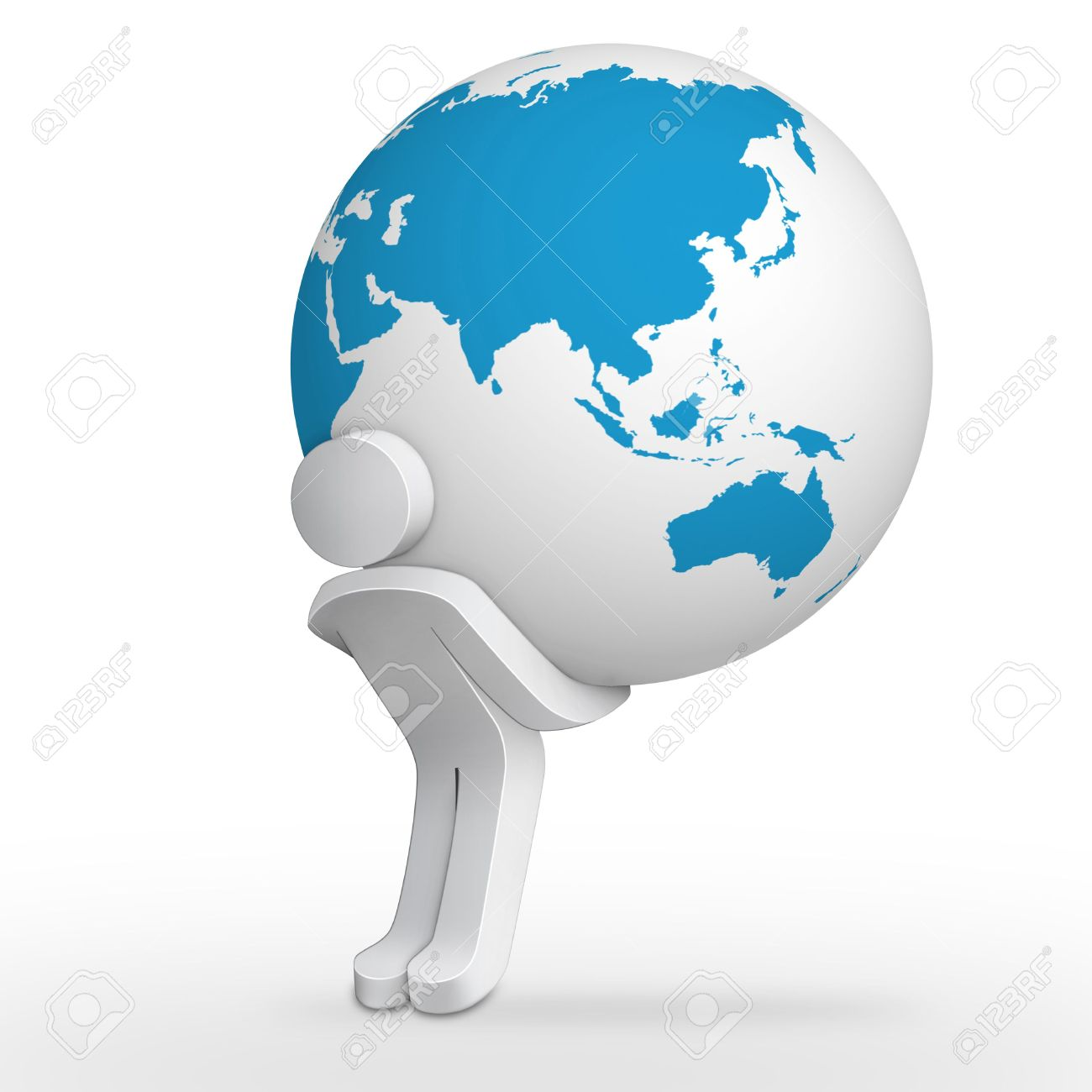 3d character man carrying earth globe with asia map stock photo 4881122