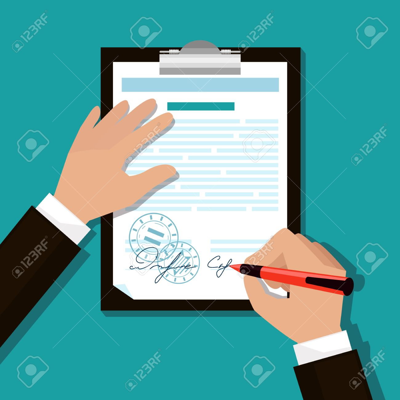 Man signs document stamped handle puts his signature cartoon flat design style - 34768606