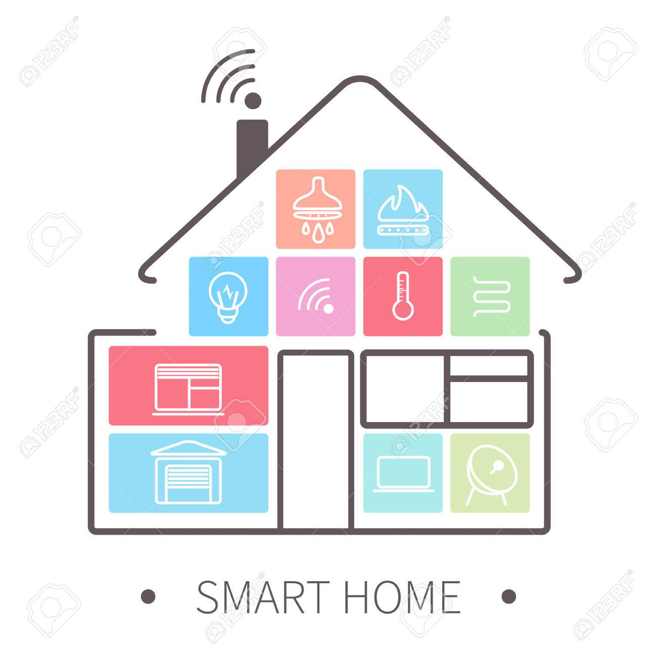 Smart Home With Outline Icons On Smart Phone. Stock Vector   38093710
