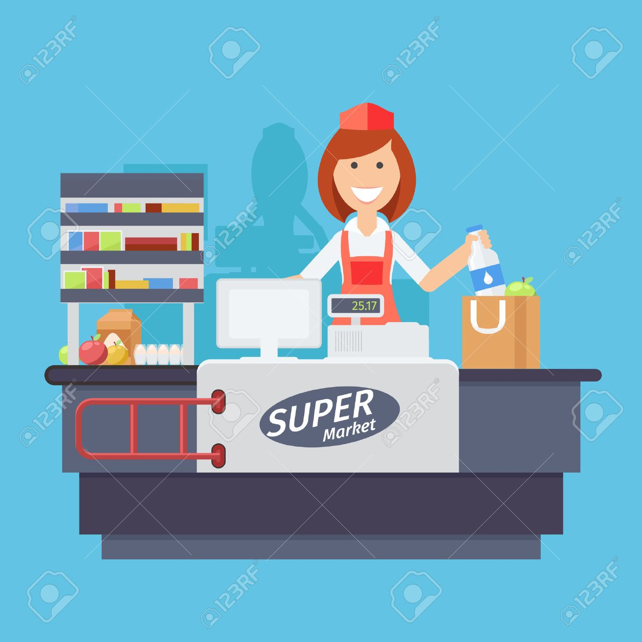 Supermarket store counter desk equipment and clerk in uniform ringing up grocery purchases. Flat style vector illustration isolated on white background. Foto de archivo - 47070659