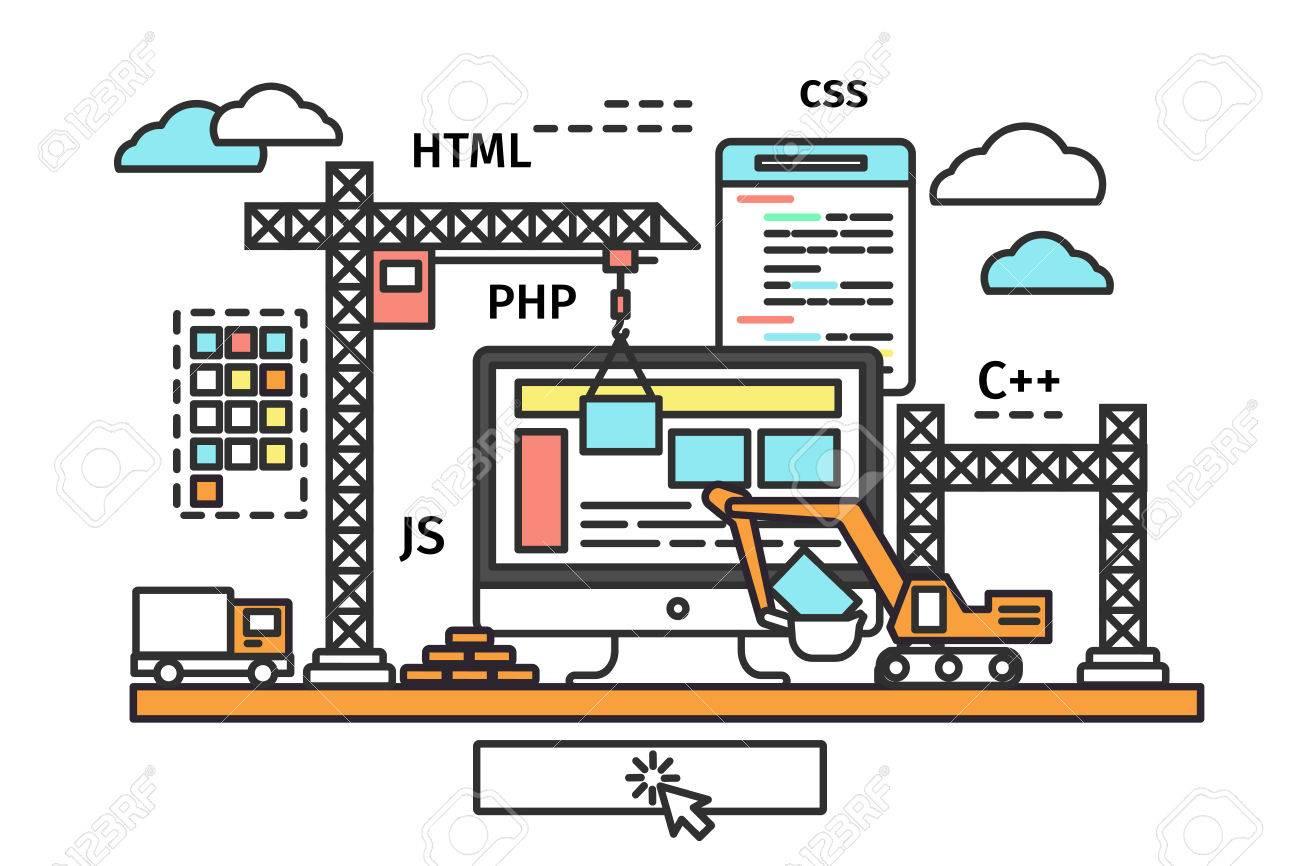 Dünne Linie Flache Design Der Web-Seite Bauprozess, Website Im Bau ...