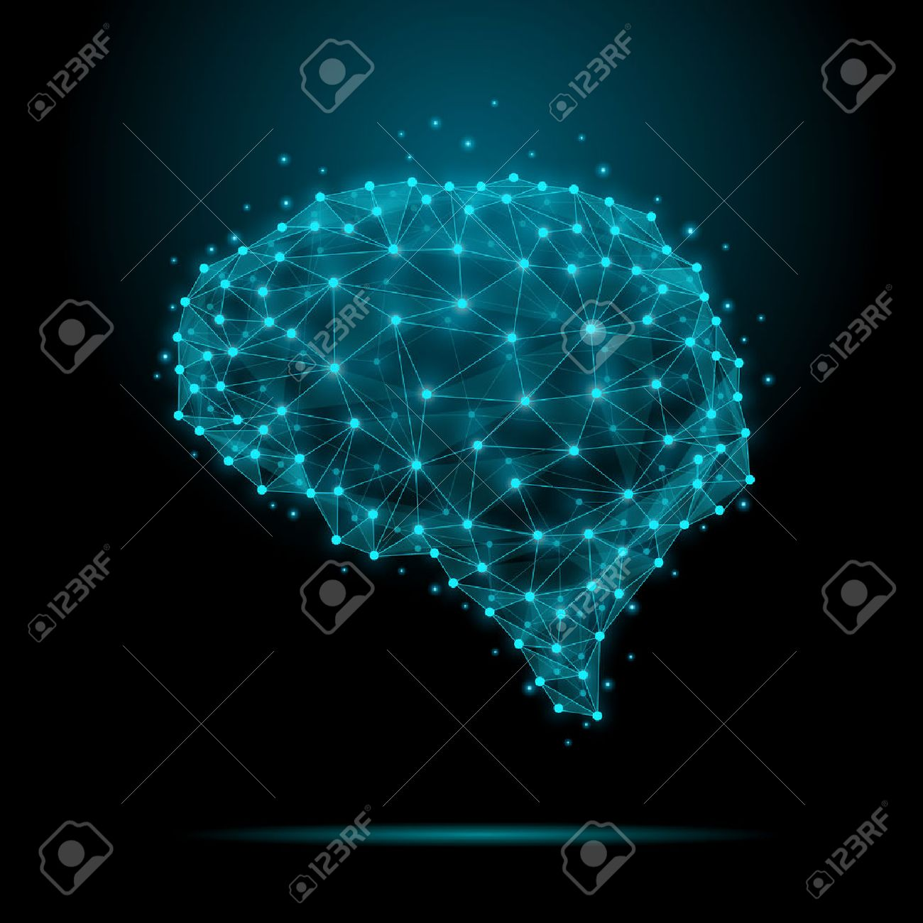 Polygonal human brain. The concept consists of polygons with luminous nodes at the intersections of the ribs. Vector illustration - 48211469