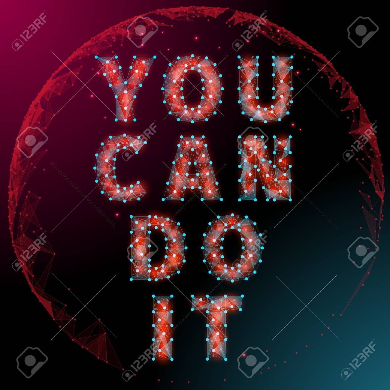 Abstract Motivational Poster Polygon Style With A Globe In The