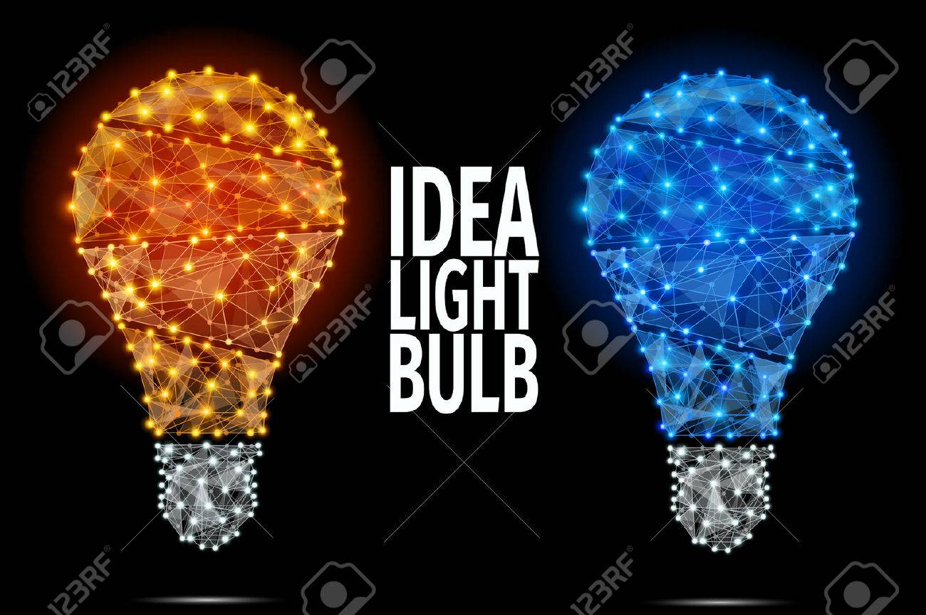 Vector light bulb icon with concept of idea. Abstract Polygonal Illustration. - 48951557