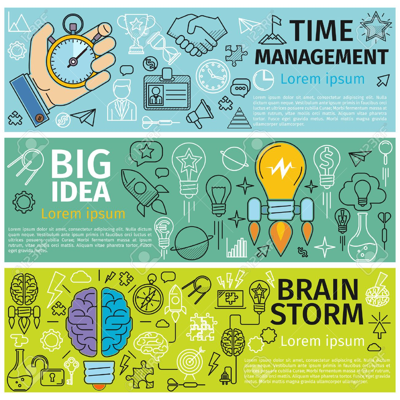 Flat concept banners of Time management, Creative design, Big Idea, Brainstorm. Line art icons Innovation and solution. business idea. Vector illustration - 50412942