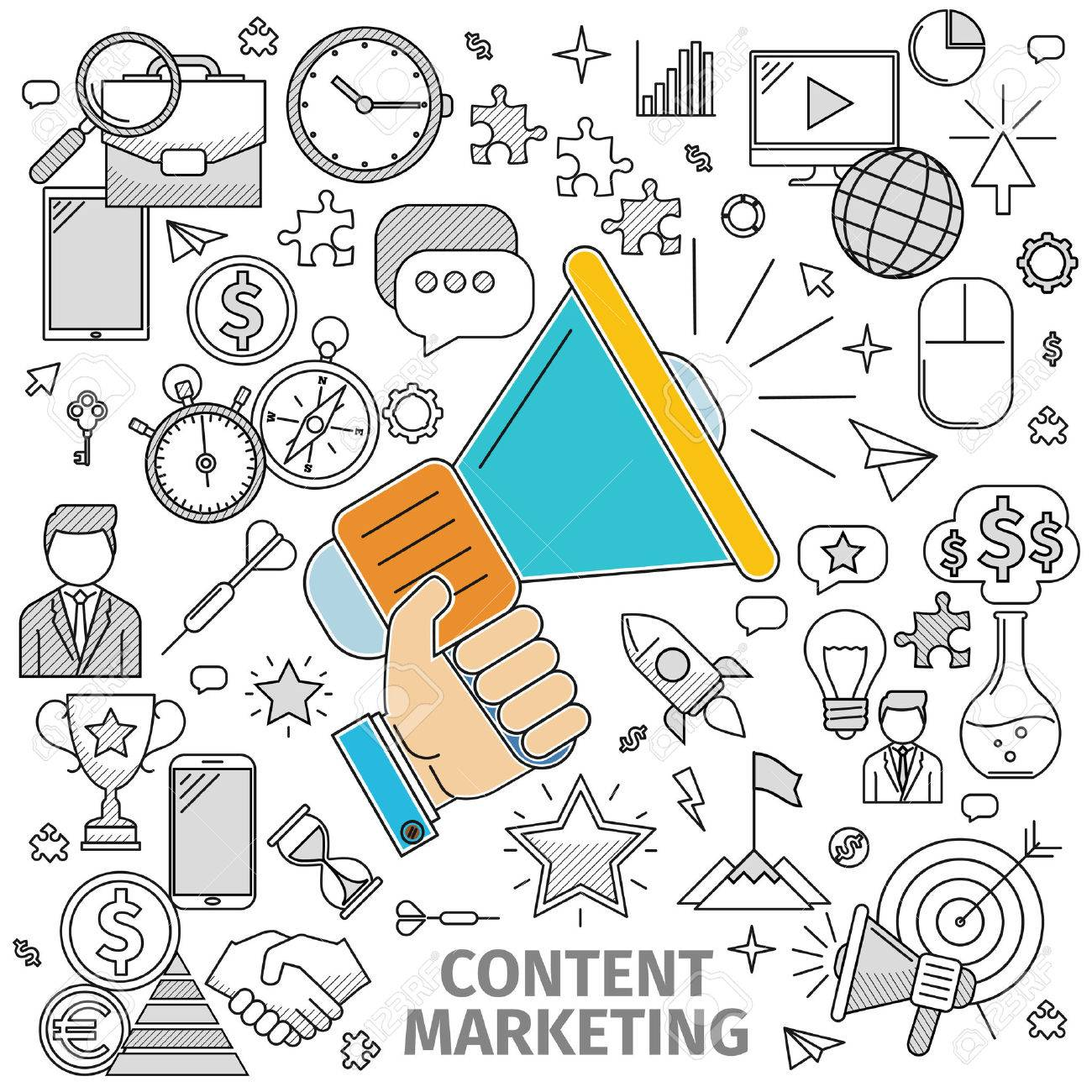 Line art flat concept of Content Marketing. Basis - loudspeaker in his hand and contour icon on the topic. illustration of flat in a line art style - 50617183