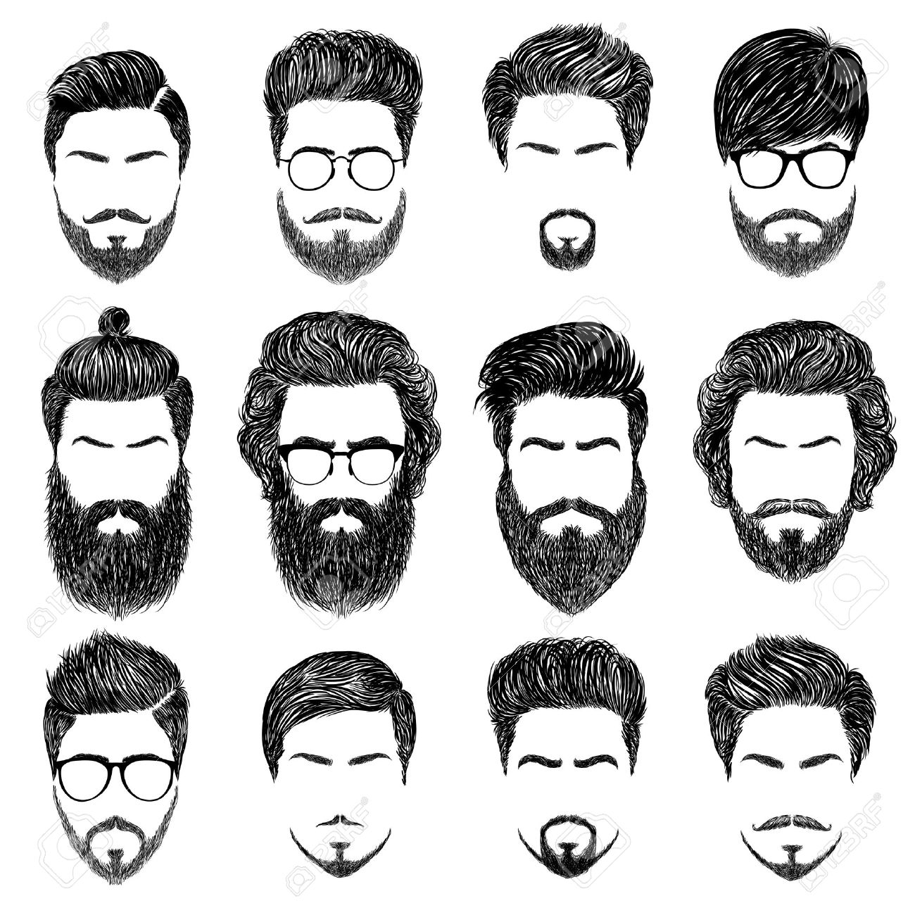 A set of mens hairstyles, beards and mustaches.Gentlmen haircuts and shaves. Digital hand drawn vector illustration. - 51250771