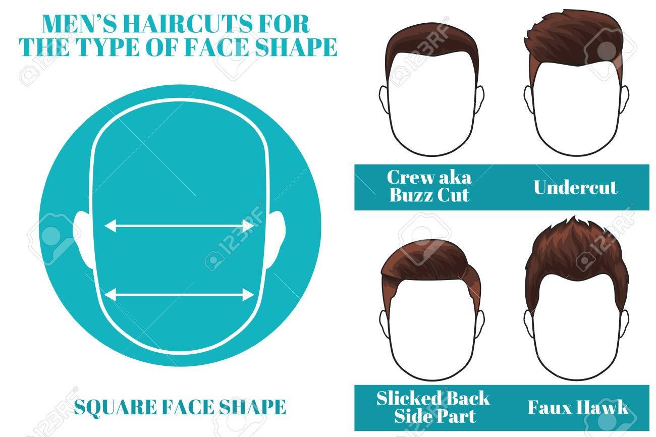 Hairstyles For Square Face Shape Of Man Illustration Royalty Free
