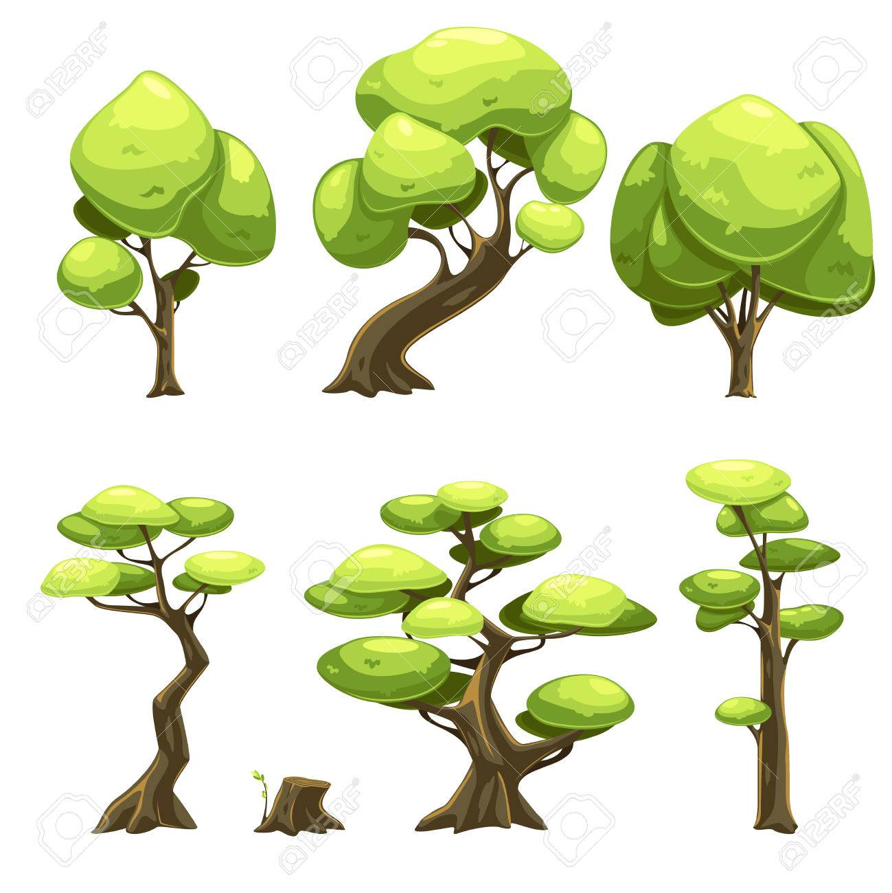 set of cartoon trees for web games vector illustration set