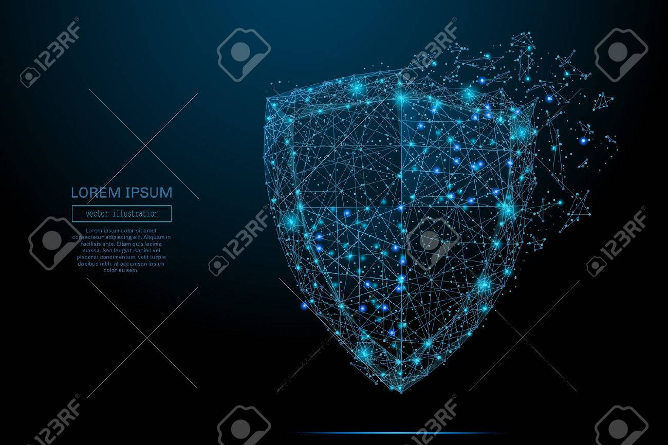 Security Shield composed of polygons. Business concept of data protection. Low poly vector illustration of a starry sky or Comos. The shield consists of lines, dots and shapes. - 69471260