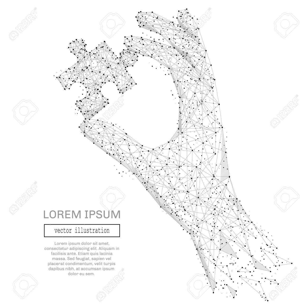 Abstract hand holding puzzle polygonal, geometry triangle. Light connection structure. Low poly vector background. Business concept - 71469311