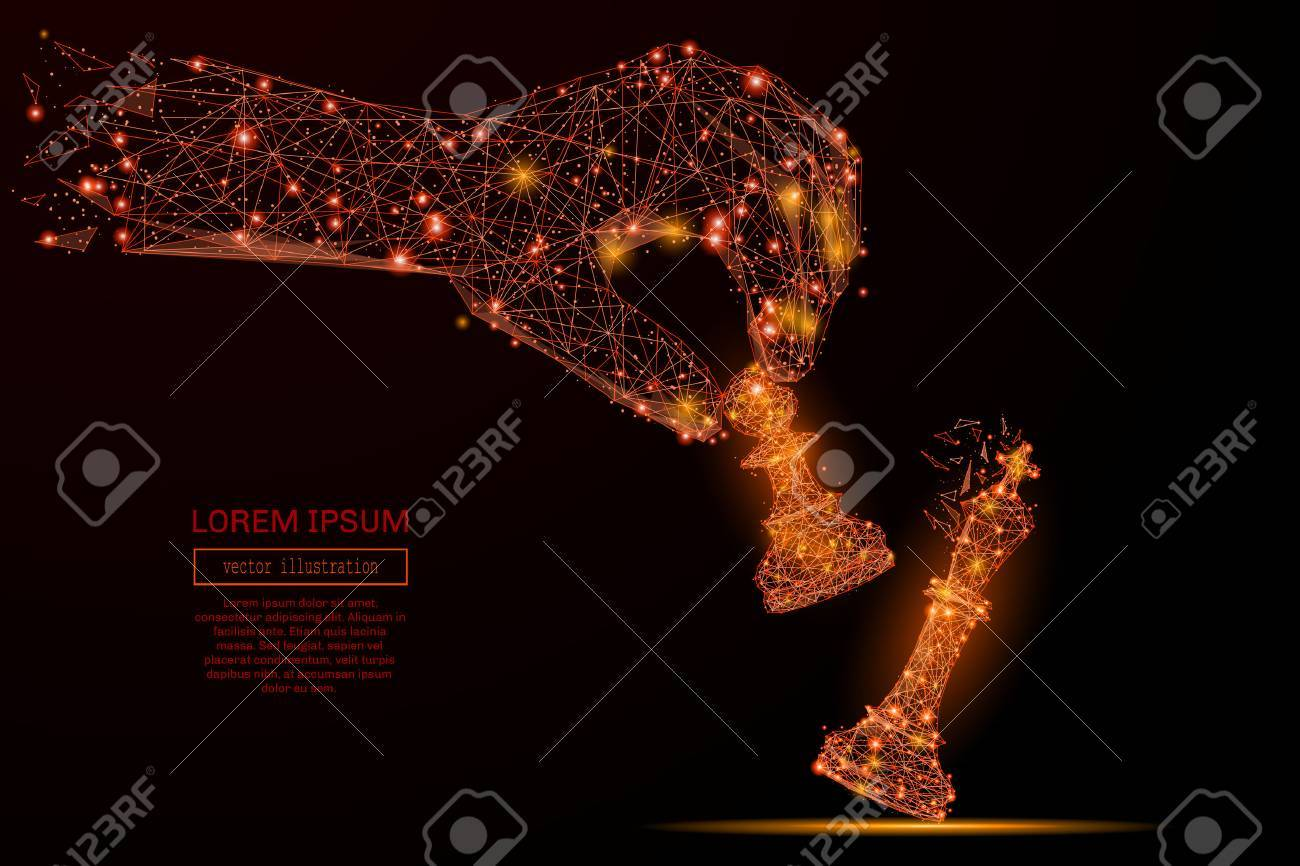Abstract mash line and point hand holding chess pawn on background with an inscription. Starry sky or space, consisting of stars and the universe. Vector business illustration - 72064739