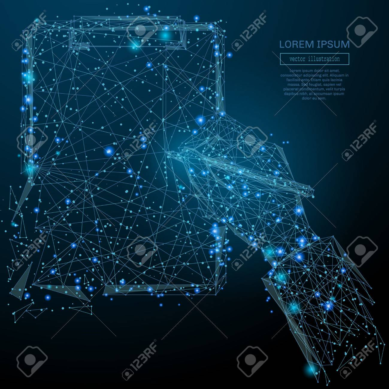 Abstract image of a man sings document in the form of a starry sky or space, consisting of points, lines, and shapes in the form of planets, stars and the universe. Vector business - 71763465