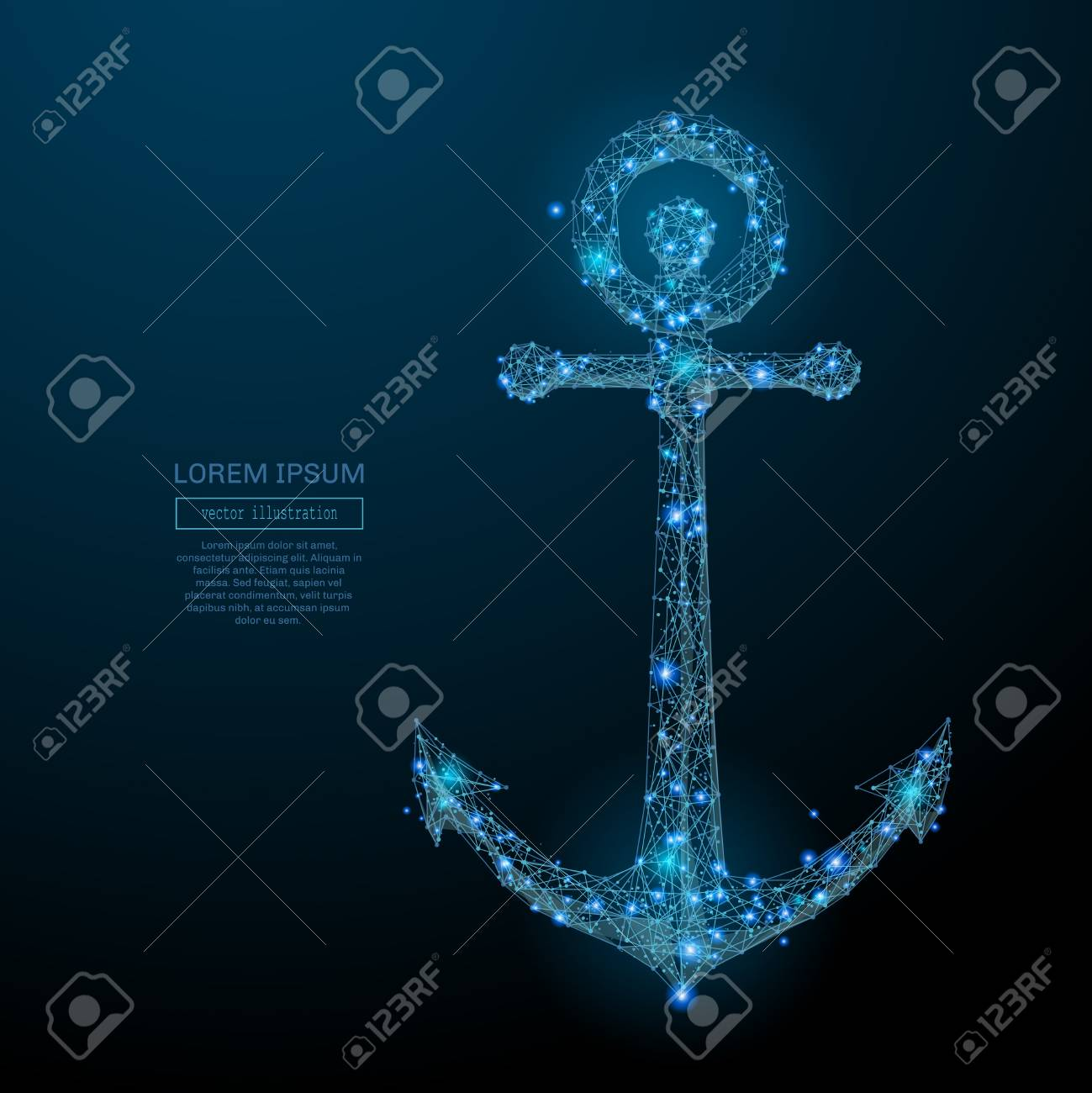 Abstract image of a anchor in the form of a starry sky or space, consisting of points, lines, and shapes in the form of planets, stars and the universe. Vector business wireframe concept. - 74643373