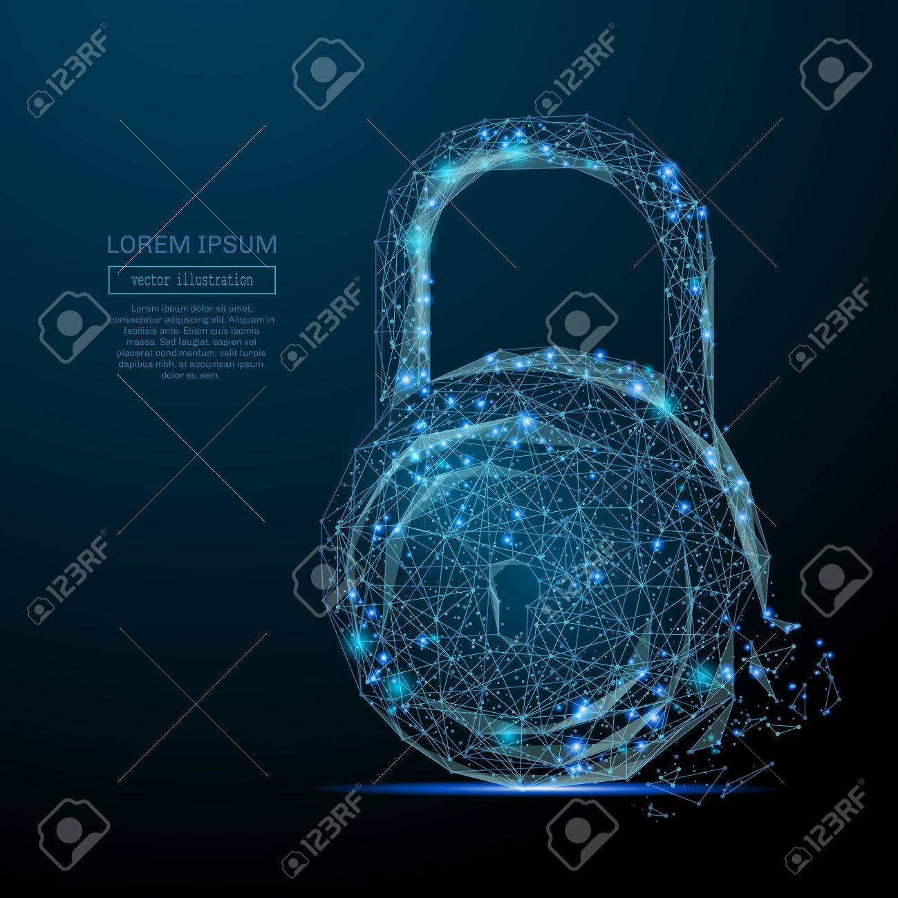 Abstract image of a lock in the form of a starry sky or space, consisting of points, lines, and shapes - 74643684