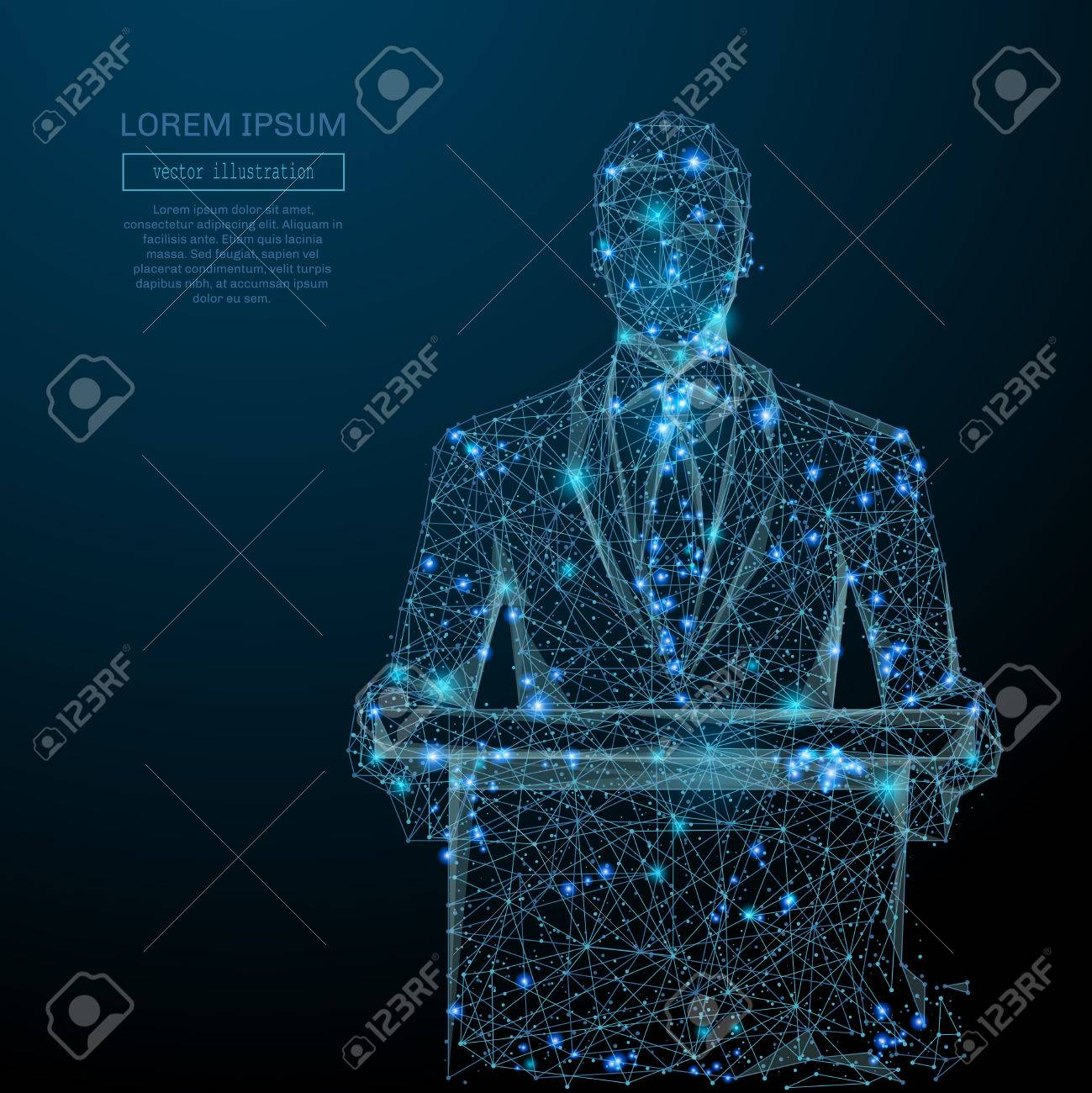 Abstract image of a business man standing behind rostrum in the form of a starry sky or space, consisting of points, and shapes in the form of planets, stars and universe. wire frame concept. - 75959599