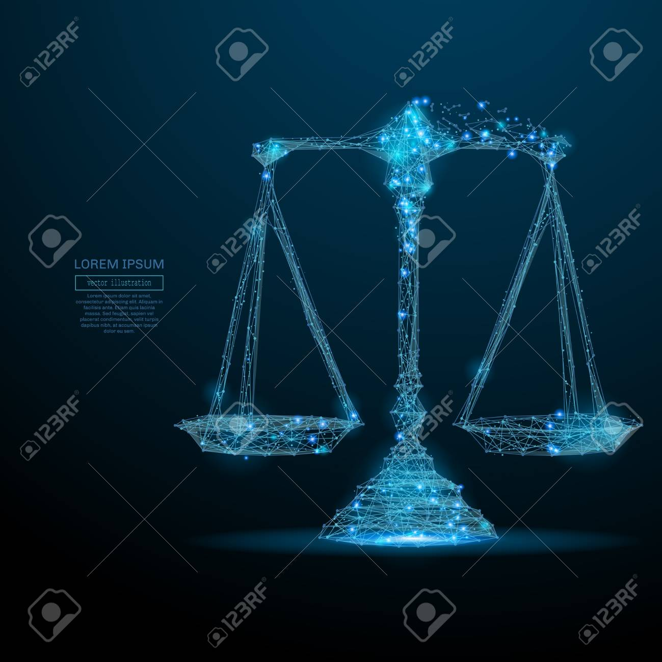 Abstract image of a scales in the form of a starry sky or space, consisting of points, lines, and shapes in the form of planets, stars and the universe. Vector wireframe concept. - 75837846