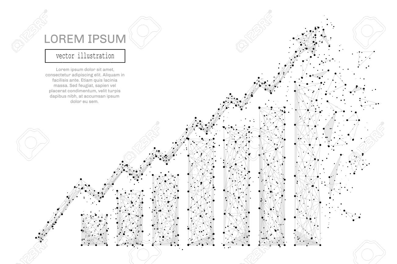 Grey growth chart with polygon line on abstract background. Polygonal space low poly with connecting dots and lines. Connection structure. Vector business background. - 77976104