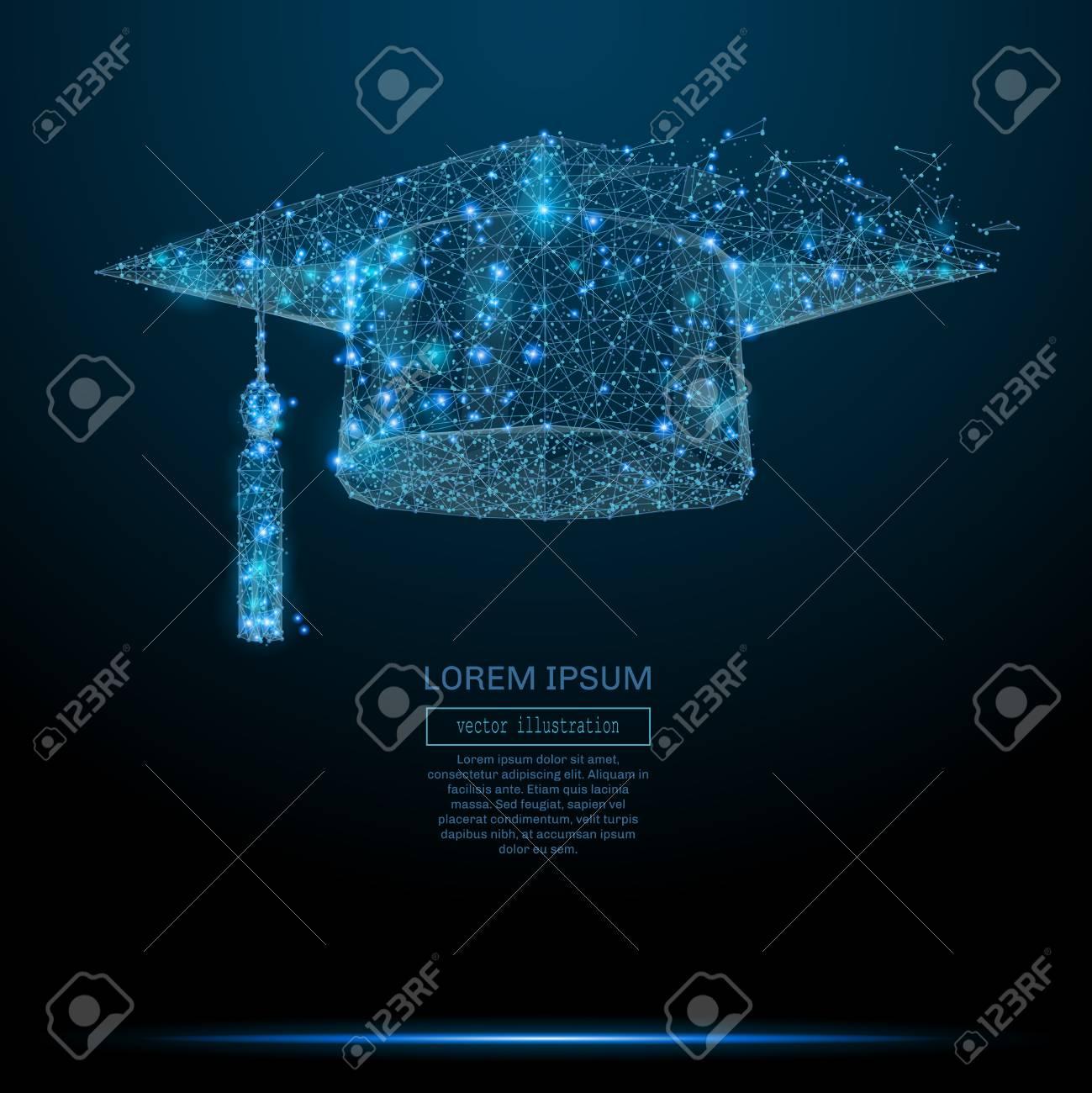 Polygonal Graduation cap. Business concept. Vector mesh spheres from flying debris. - 78090949