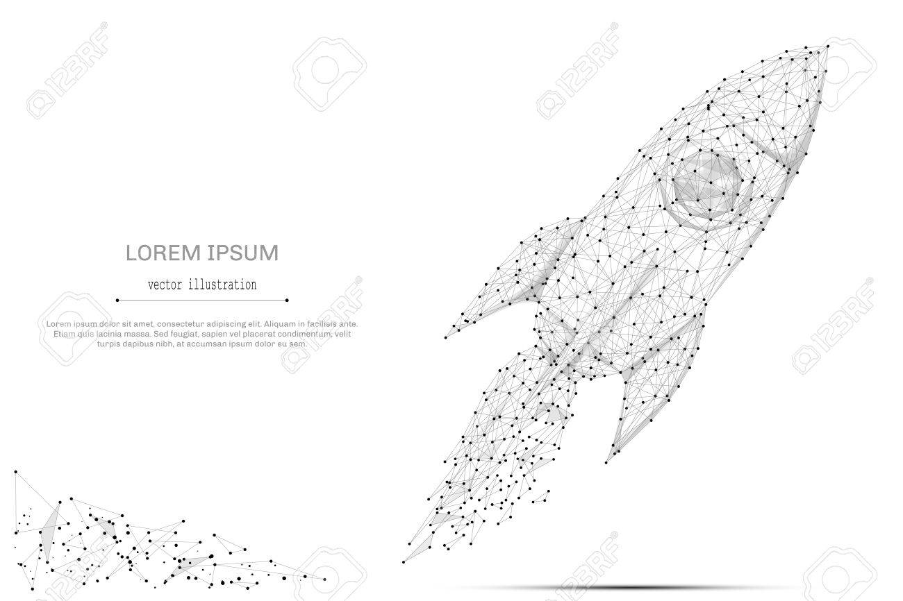 Abstract mash line and point rocket on white background with an inscription. - 78616762