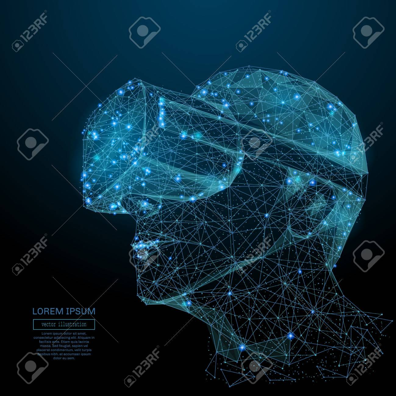 Abstract image of a virtual reality in the form of a starry sky or space, consisting of points, lines, and shapes in the form of planets, stars and the universe. Vector technology concept - 81787820