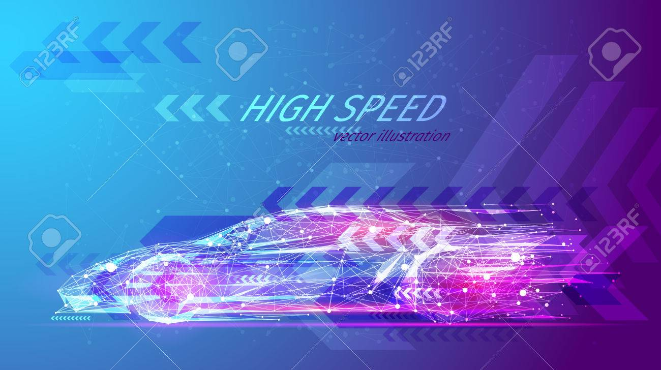 High speed concept. Sport car in the form of a starry sky or space, consisting of points, lines, and shapes in the form of planets, stars and the universe. Fast vector wireframe concept. Blue purple - 86639323