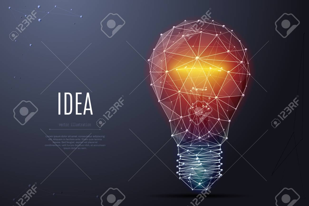 Vector Incandescent lamp with bright light. Low poly wireframe and points. - 99993049