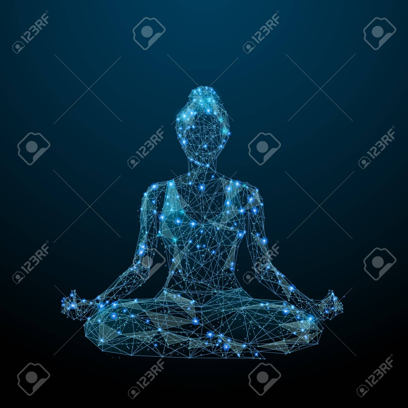 Abstract image of woman yogi sits in a lotus pose in the form of a starry sky or space, consisting of points, lines, and shapes in the form of planets, stars and the universe. Vector yoga. RGB - 100326544