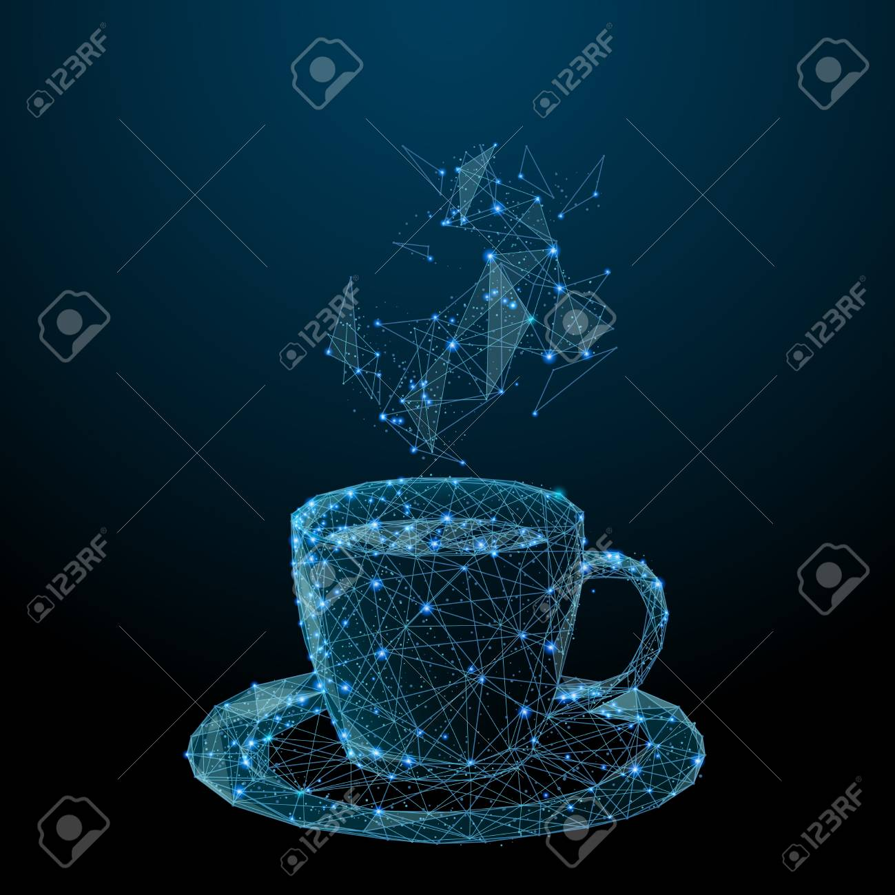 Coffee cup. Tea cup. Vector polygonal image in the form of a starry sky or space, consisting of points, lines, and shapes in the form of stars with destruct shapes. - 115477577