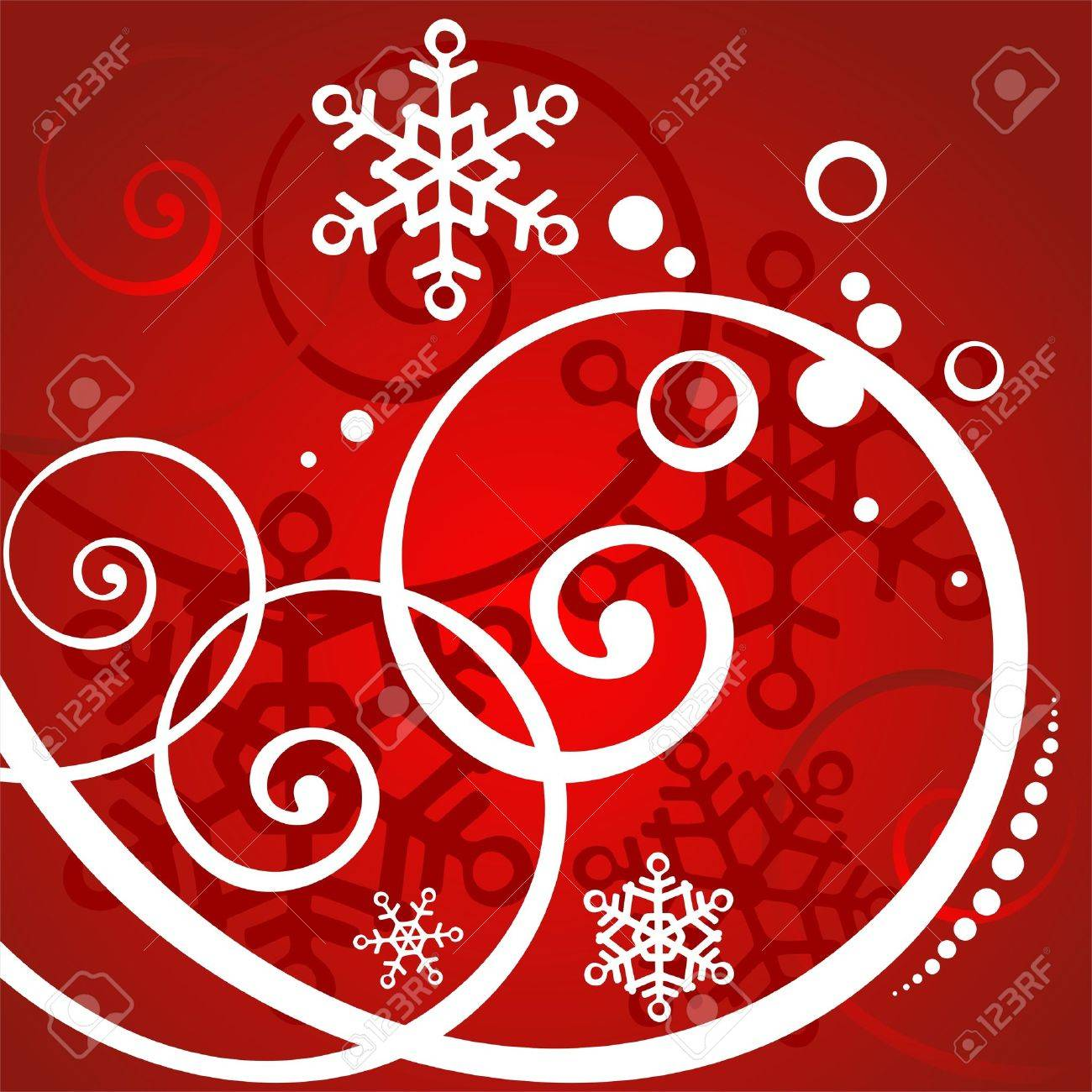 Red winter background with white curls and snowflakes. Stock Vector - 1786966