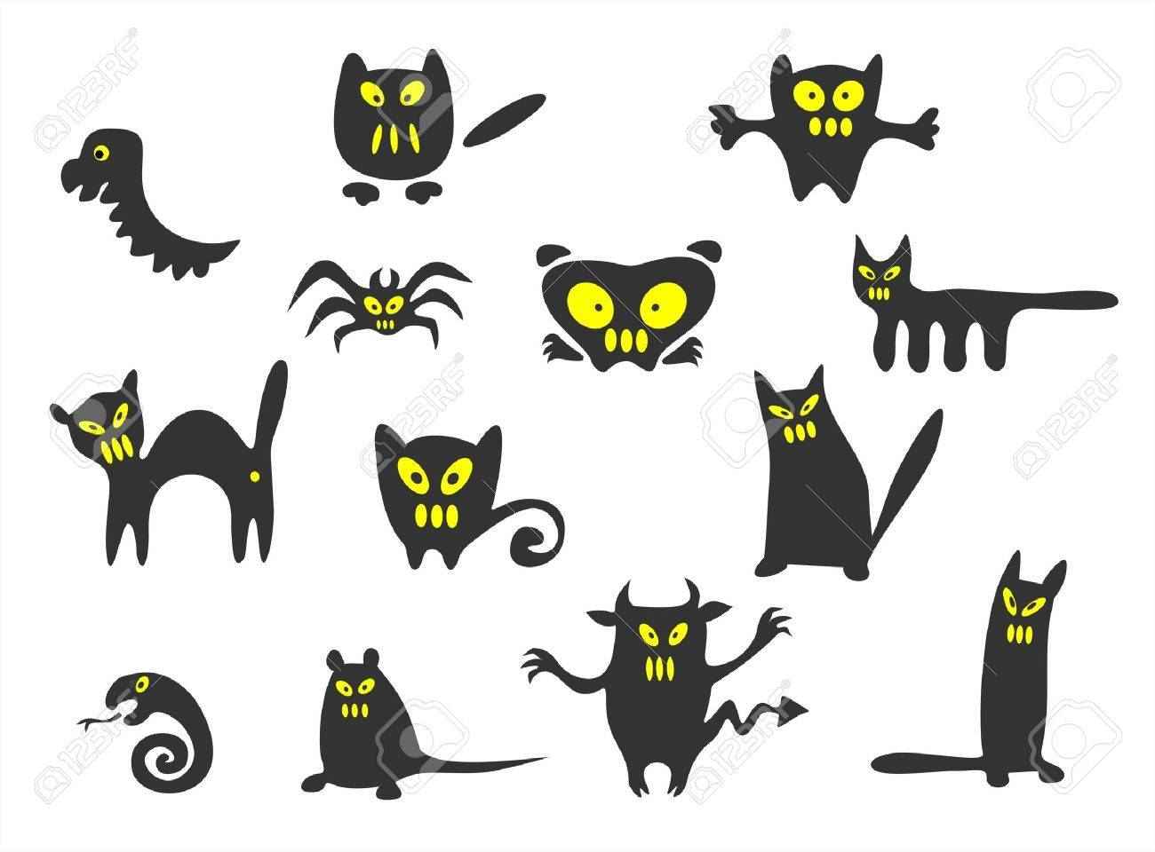 Thirteen black Halloween monsters on a white background. Stock Vector - 1786970