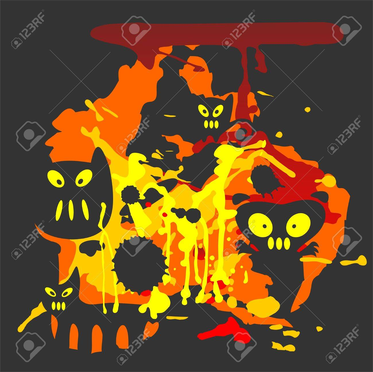 Halloween grunge black background with spots and monsters. Stock Vector - 1828383