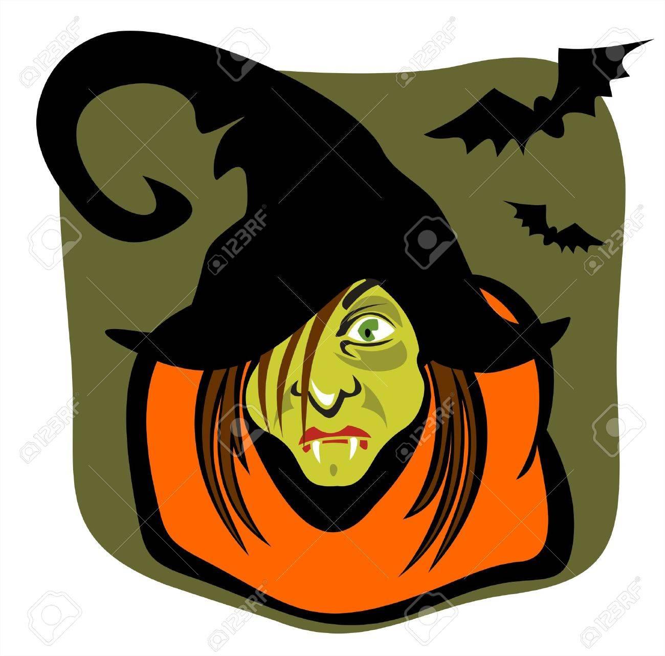 La strega stilizzata in un cappello nero e un pipistrello a sfondo verde scuro.  Archivio Fotografico - 1934517