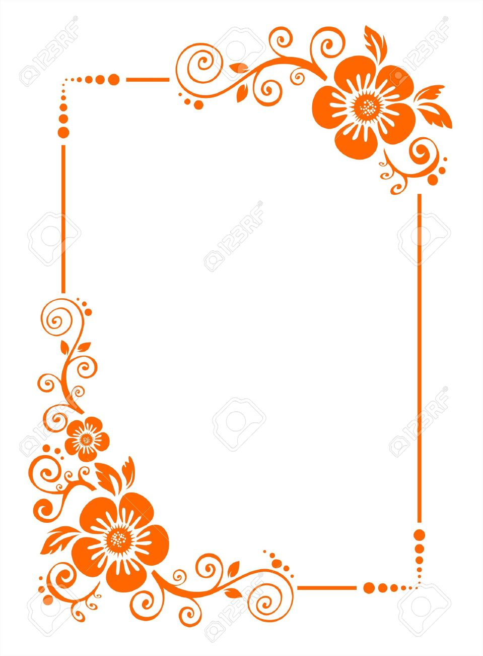 Orange Frame From Decorative Flowers On A White Background. Royalty ...