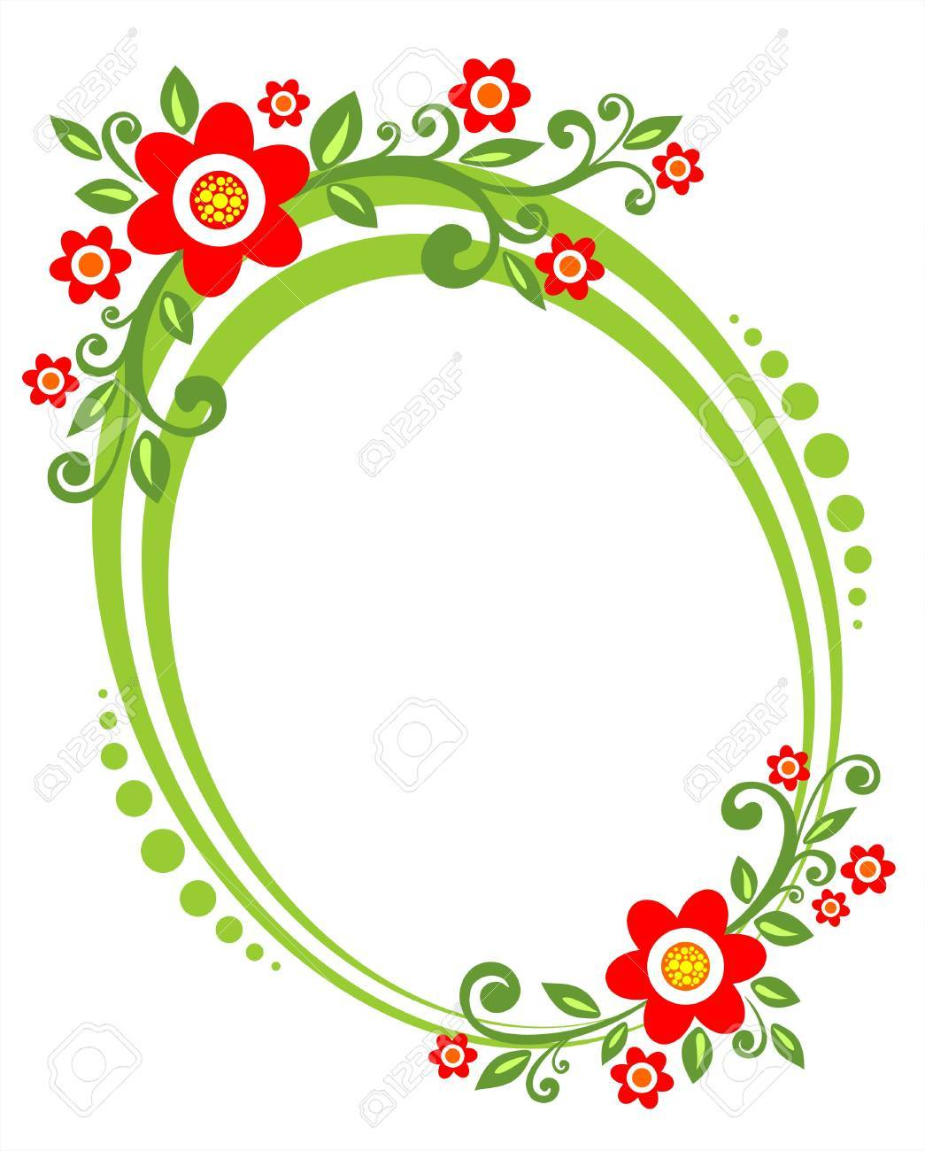 Green framework with a decorative vegetative ornament and red flowers. Stock Vector - 1975692