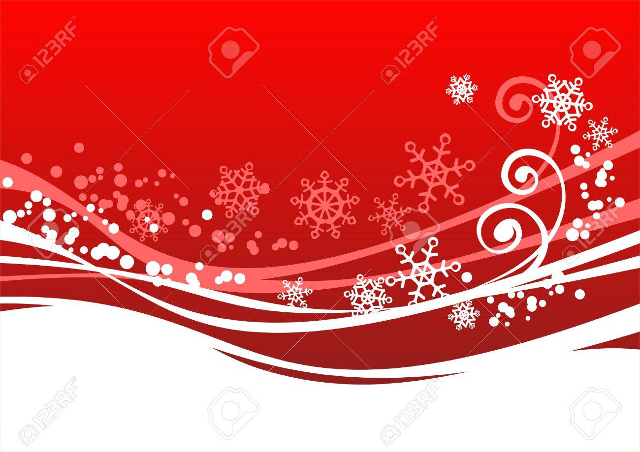 Red pattern with snowflakes and curls on a dark blue background. Stock Vector - 2032670