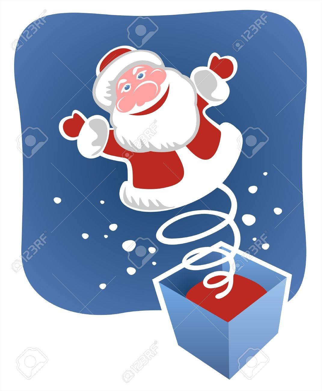 A toy santa jumps out on a spring from a box. Christmas illustration. Stock Vector - 2137576