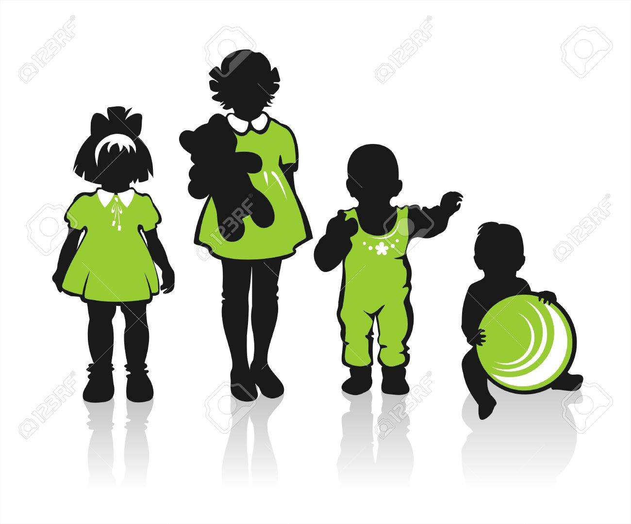 Black children's silhouettes on a white background. - 2207054