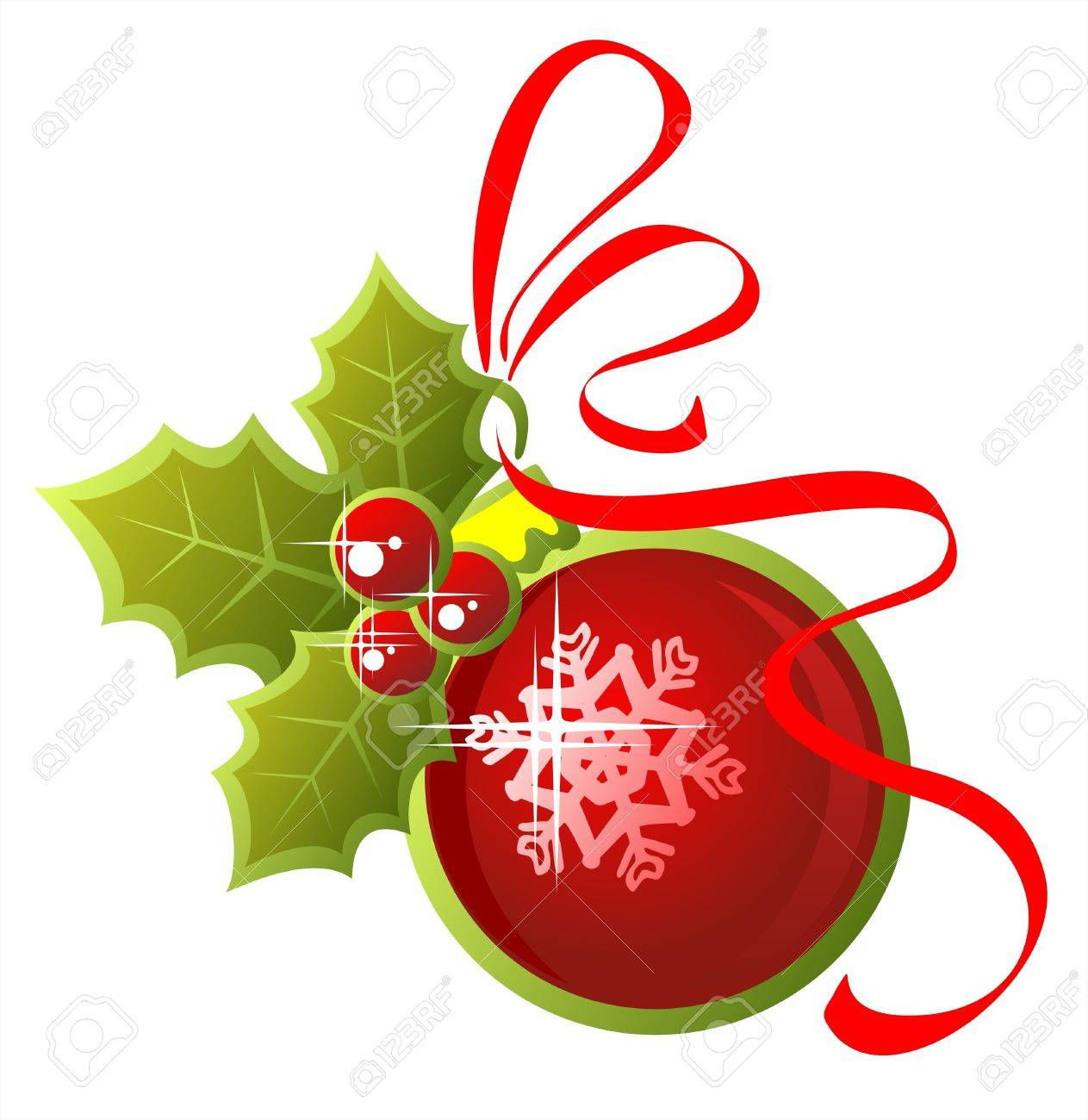 Red ornate christmas ball with holly berries and red tape on a white background. Stock Vector - 2207055